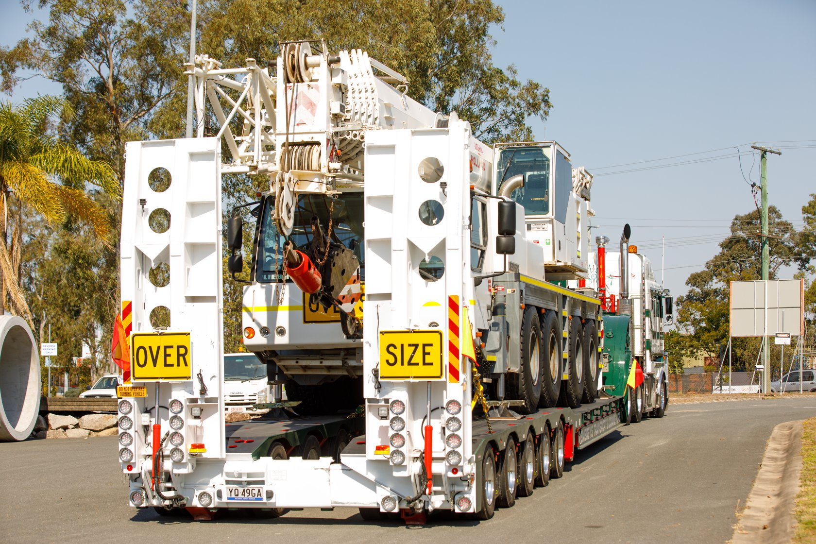 Membrey trailer fully loaded with liebherr