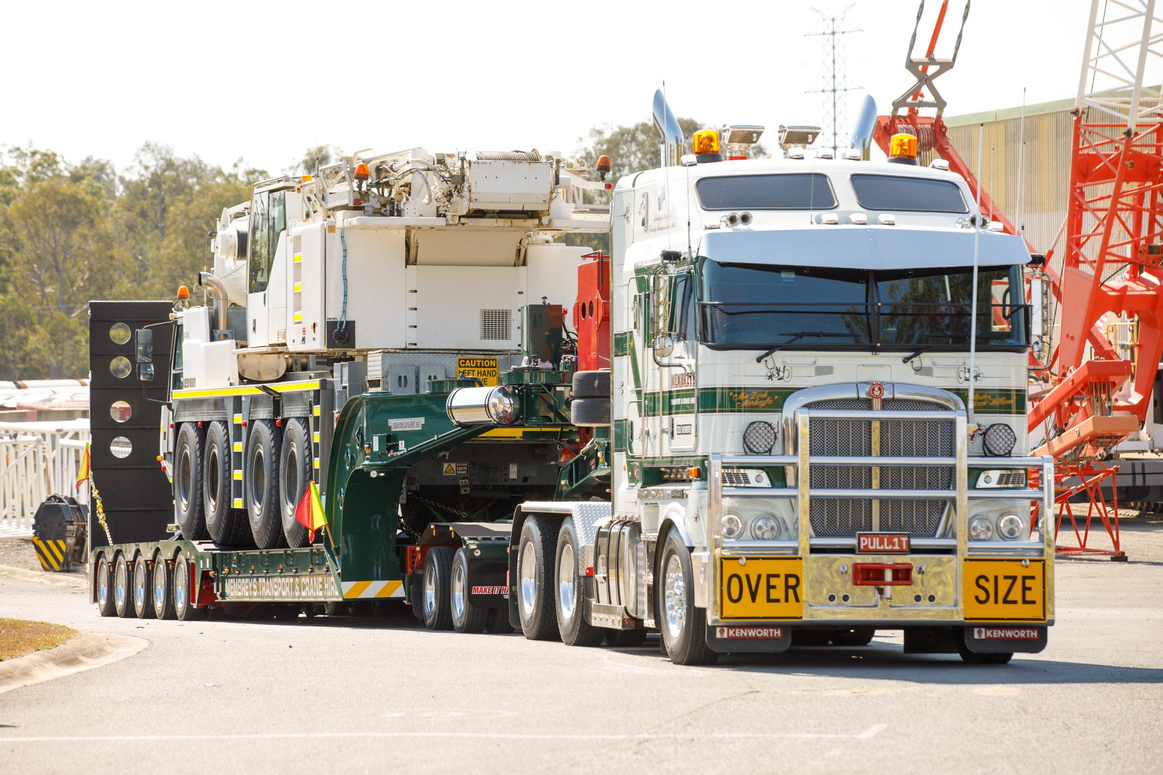 Membrey's Trailer fully loaded with liebherr