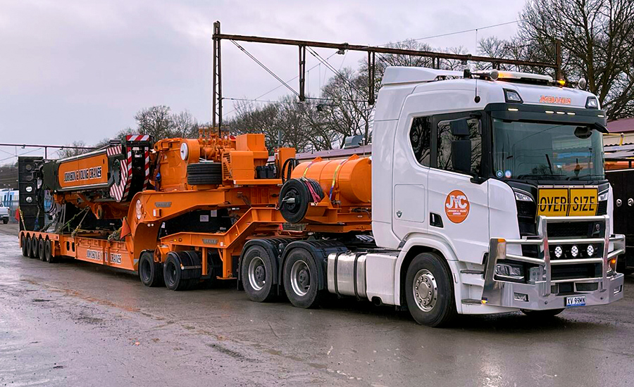 johnson young cranes trailer with load